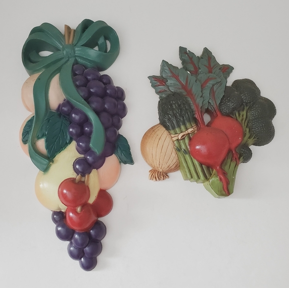 Vintage Plastic Fruit Vegetable Wall Decor Kitsch